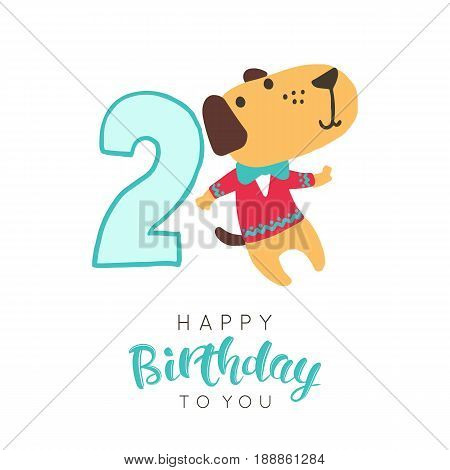 Vector illustration of greeting card with happy birthday to you words and dog in sweater dedicated to second birthday.