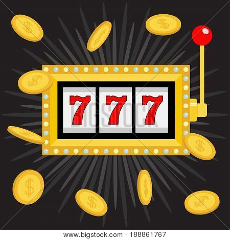 Slot machine. Golden Glowing lamp light. 777 Jackpot. Lucky sevens. Flying coin money. Red handle lever. Big win Online casino gambling club sign. Flat design. Black shining star background. Vector