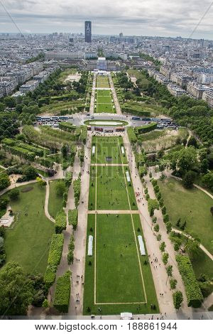Aerial View Of The Champ De Mars At Paris