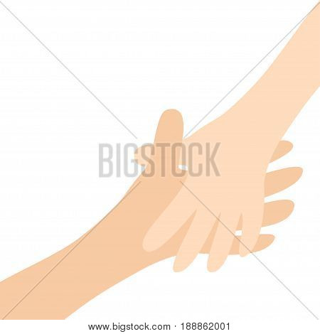 Handshake. Two hands arms reaching to each other. Happy couple. Mother and child. Helping hand. Close up body part. Baby care. White background Isolated. Flat design. Vector illustration