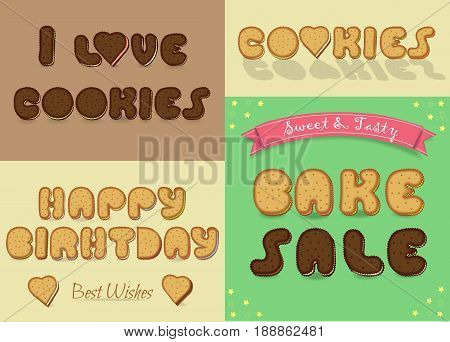 Inscriptions by sweet artistic font. I love cookies. BAke Sale. Happy Birthday. Letters are as chocolate and vanilla biscuits. illustration