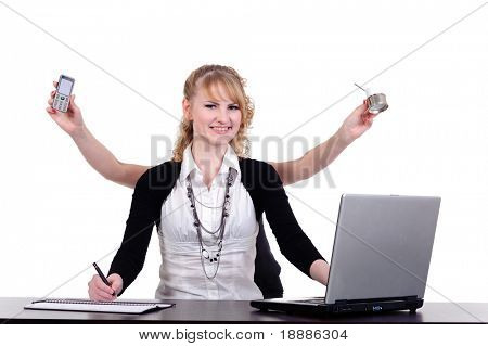 beauty business woman with four arms for multitasking conception