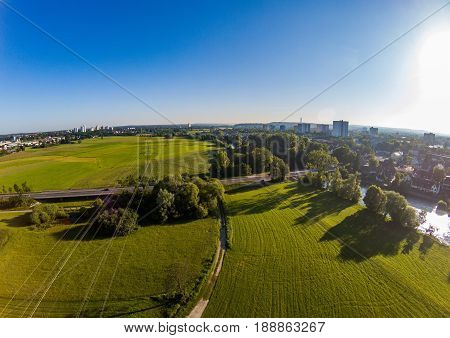 Aerial photo of the meadows and river Regnitz at Erlangen Germany