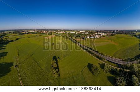 Aerial Panorama View Of The Meadows And River Regnitz At Erlangen