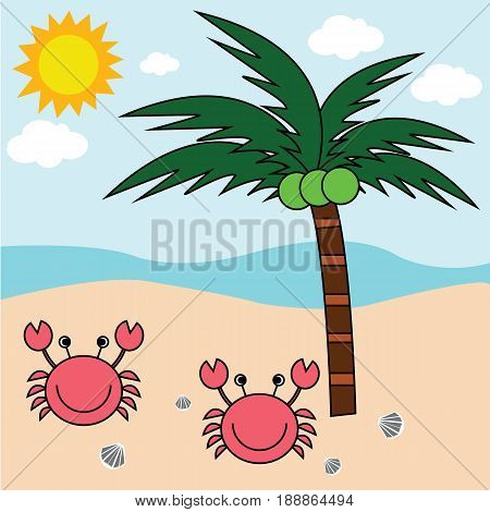 Beach crab and coconut trees. Beachside ocean view and the show Sunday.