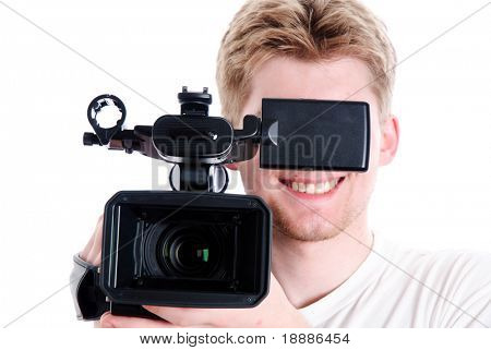 young video operator with HDV camcorder. Focus on camera