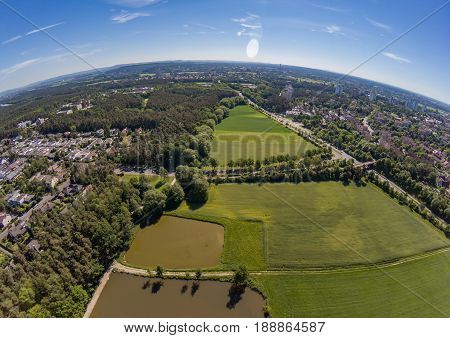 Aerial View Of A Small Lake In The District Of Buechenbach Of The City Of Erlangen