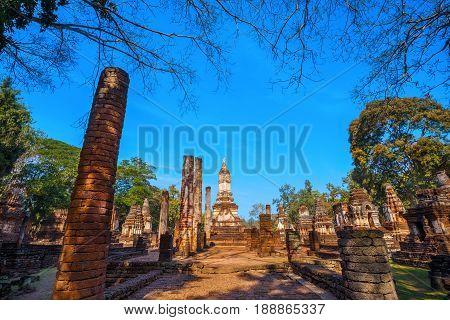 Sukhothai, Thailand - January 17 2017: Wat Chedi Jet Thaew In The Precinct Of Si Satchanalai Histori