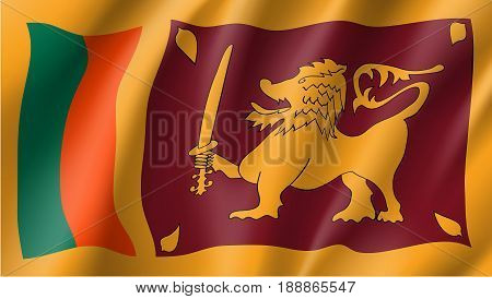 Sri Lanka national flag. Patriotic symbol in official country colors. Illustration of Asian state flag. Vector icon
