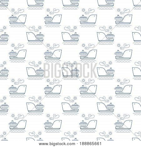 Blue Vessel on White Background Seamless Maritime Travel Pattern Line Style Design Vector Illustration