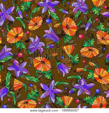 Seamless background with spring flowers in stained glass style flowers buds and leaves of pansies and lilies on a abstract brown background