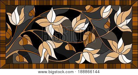 Illustration in stained glass style with flowersmonochrome Sepia horizontal orientation