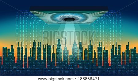 The digital city. Big brother electronic eye concept, technologies for the global surveillance, security of computers and networks, data streams