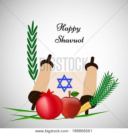 illustration of pomegranate, apple, star with happy shavuot text