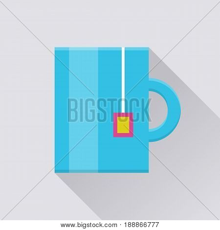 Tea mug flat icon. Blue mug with tea bag pocket, lunch time in the office, coffee break. Vector flat style cartoon illustration with long shadow on gray background. Business concept