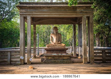 The Samadhi Statue is a statue situated at Mahamevnawa Park in Anuradhapura, Sri Lanka. The Buddha is depicted in the position of the Dhyana Mudra