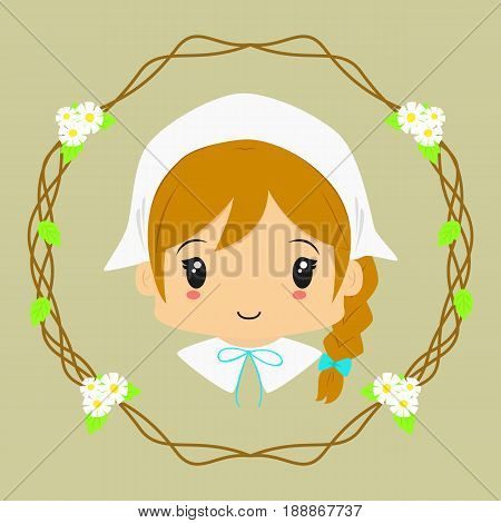cute milkmaid lady, with circle floral background
