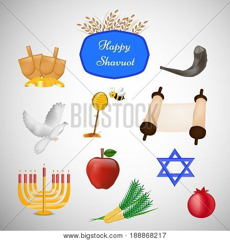 illustration of elements of pomegranate, Apple, Papaya, star, pigeon, corn, candle stand and wheat with happy Shavuot text