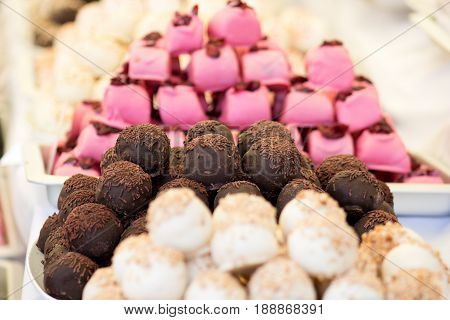 chocolate balls sprinkled with chocolate ready to sell