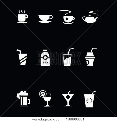 drink Icon vector.Patterns of different drinks.Drink list types.