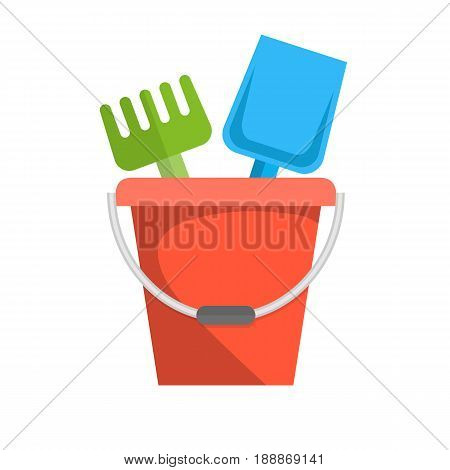 Bucket, rake and shovel for children sandbox icon. vector illustration in flat design