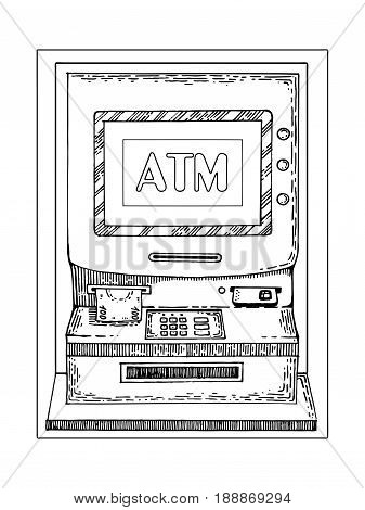 Automated teller machine engraving vector illustration. Scratch board style imitation. Hand drawn image.