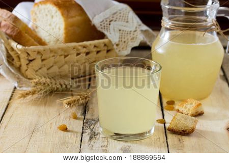 Traditional Russian Cold Drink Light Kvass On The Kitchen Table In A Rustic Style. Kvass From Bread,