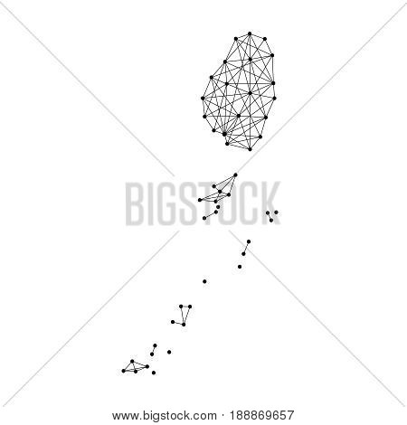 Map of Saint Vincent and the Grenadines from polygonal black lines and dots of vector illustration