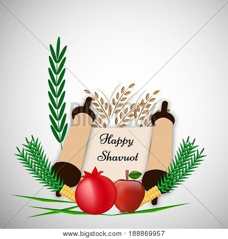 illustration of pomegranate, apple, wheat with happy shavuot text