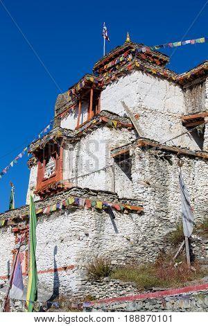 Tibetan old monastery in himalayas mountain Manang village. Annapurna area Himalaya Nepal