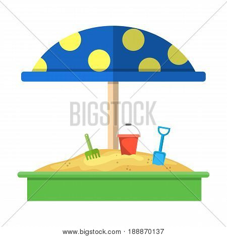 Sandbox with red dotted umbrella icon, Bucket, rake and shovel. vector illustration in flat design