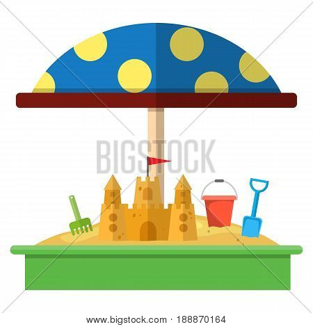 Sandbox with red dotted umbrella icon, Bucket, rake, sandcastle and shovel. vector illustration in flat design