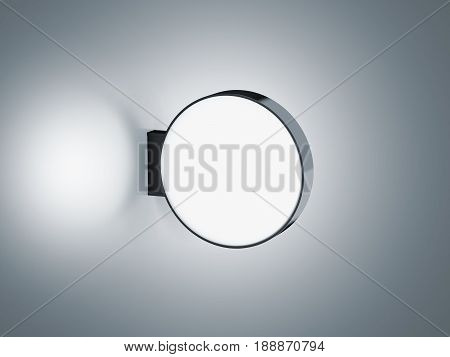 Blank glowing round store signage design mockup isolated 3d rendering. Empty circular light box mock up. Illuminated shop lightbox template. Street sign hanging mounted on the wall. Signboard