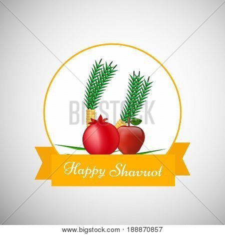 illustration of pomegranate Apple and Corn with happy Shavuot text