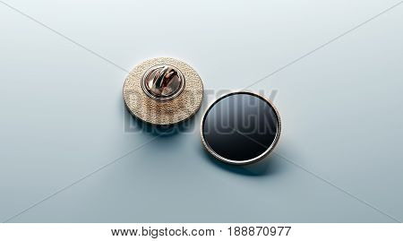 Blank black round gold lapel badge mock up front and back side view 3d rendering. Empty luxury hard enamel pin mockup. Golden clasp design template. Expensive curcular brooch for logo presentation