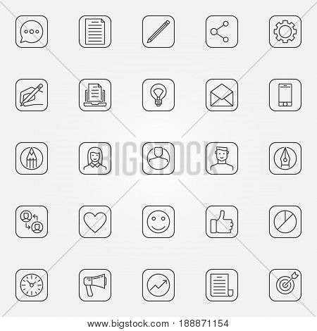 Blog icons set - vector minimal social media and blogging signs or buttons in thin line style