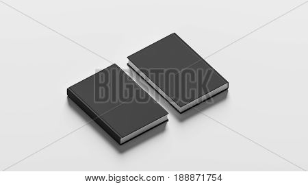Blank black hardcover books mock up set front and back side view 3d rendering. Empty notebook cover mockups isolated. Bookstore branding template. Plain textbook with clear binding. Booklet above poster