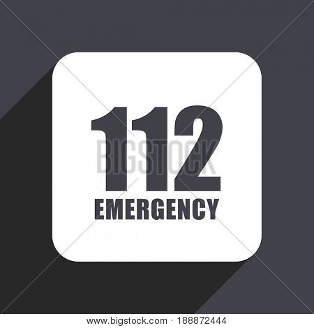 Number emergency 112 flat design web icon isolated on gray background