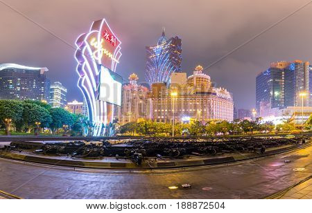 Macau, China - November 9, 2016: Buildings of Macau Casino on November 9, 2016, Gambling tourism is Macau's biggest source of revenue, making up about fifty percent of the economy.