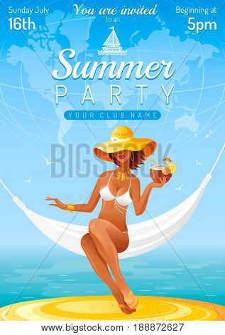 Summer party invitation flyer design. Sea beach landscape background. Sexy young girl travel. People vacation vector illustration poster. Night club banner. Hawaiian luau abstract template