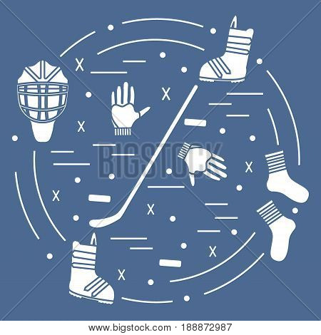Vector Illustration Of Various Subjects For Hockey And Snowboarding Arranged. Including Icons Of Hel