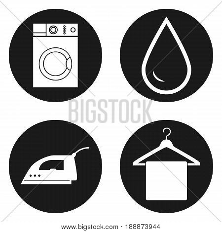 Laundry, alterations, dry cleaning and sewing icons in circle button.. Vector illustration