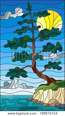 Illustration in the style of stained glass with a lone pine tree standing on the Bank on the background of sky sun and water