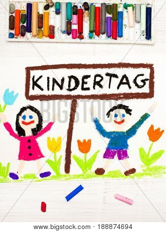 Colorful drawing: Children's day card with German words Children's day