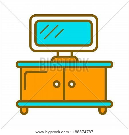 TV set on table with two vertical doors isolated on white. Vector colorful graphic illustration in flat design of piece of furniture for living room. Chest of drawers with television device.