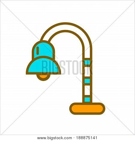 Bent colorful lamp isolated on white. Vector illustration in flat design of lighting equipment that works from electricity and has yellow stand, long thin and flexible element and bulb under cover