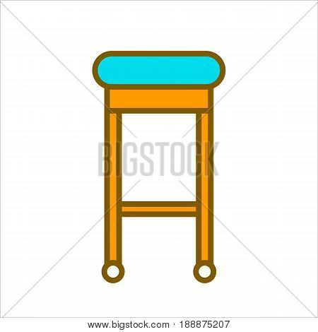 Bar chair with bright blue soft and comfortable seat and wooden orange legs on wheels isolated on white background. Modern stylish furniture for dining room and cafes flat vector illustration.