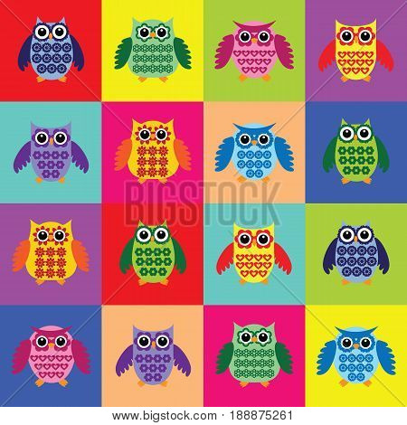 Vector owls set.Owls of many colors.OWL Full Color.