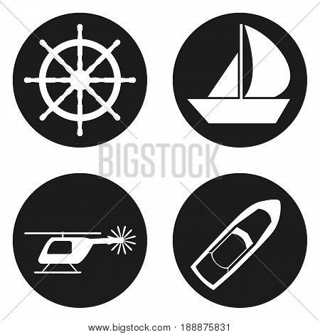 Travel and Tourism icons set in circle button. Vector illustration