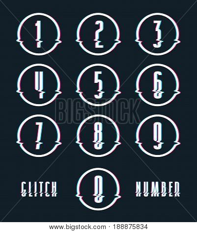 Decorative numbers with glitch distortion effect. Color print on black background